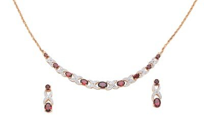 Lady V Garnet And Diamond Necklace And Matching Earrings
