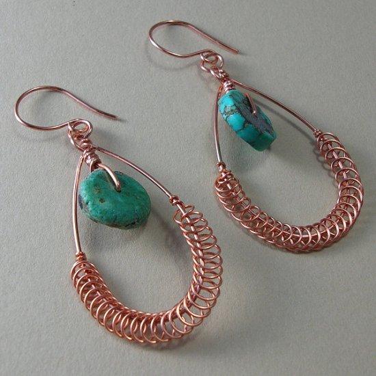 Copper and Turquoise Teardrop Earrings - EC101