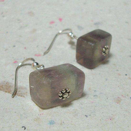 Fluorite Chunk on Sterling Earrings - ES168