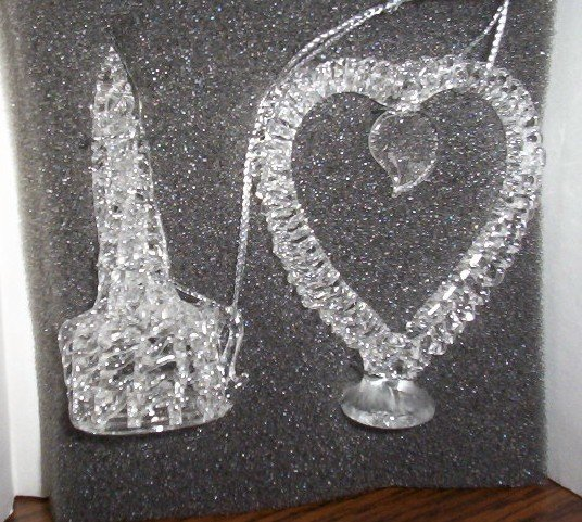 Heart and candle spun glass ornaments