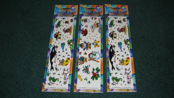 Christmas Temporary Tattoos lot of 3 packages