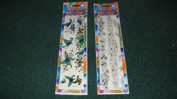 Butterfly Skin Art Temporary Tattoos lot of 2 packages
