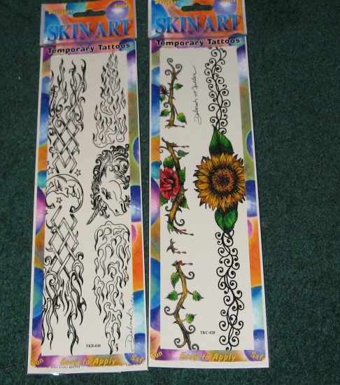 Sunflowers,Roses & unicornsTemporary Tattoos lot of 2 packages