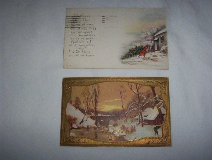 2 Christmas postcards lot c 8-snow scenes
