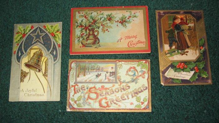 4 Christmas Postcards lot  c12