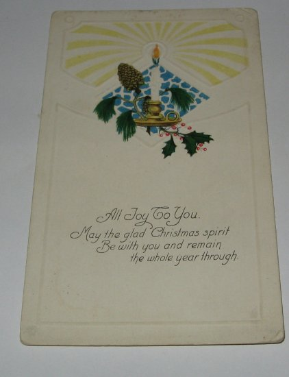 All Joy to you Christmas Postcard with candle lot c 44