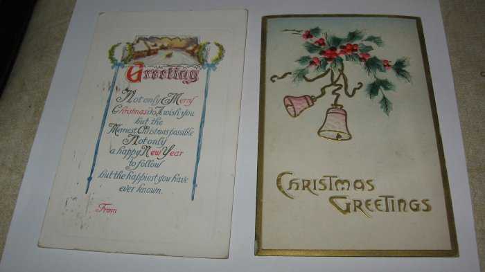 2 Christmas Greetings postcards lot  C 57