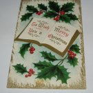 Embossed Holly and book Christmas card C60