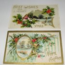 2 Christmas Postcards Best Wishes and Happy Christmas C61