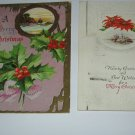 2 Embossed Christmas Postcards Poinsettia and Holly C70