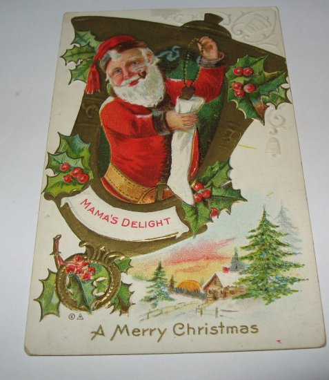 Santa Claus Mama's Delight Embossed postcard lot 71