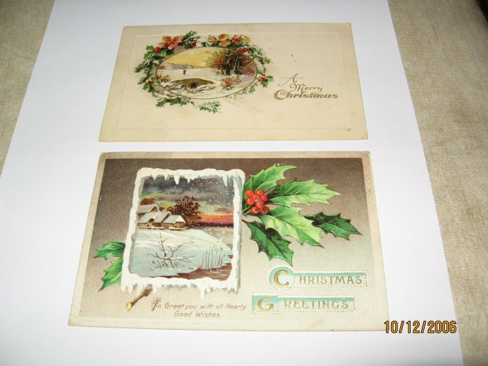 2 Christmas Postcards 1 printed in Germany lot 73