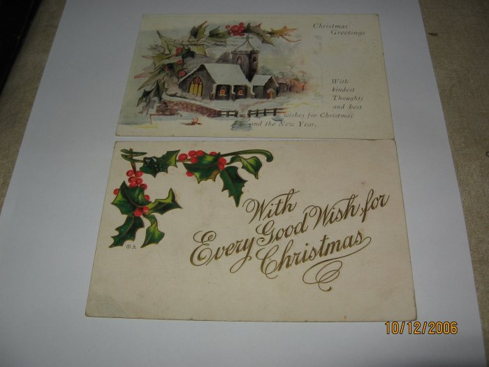 2 Christmas postcards church and holly lot 74