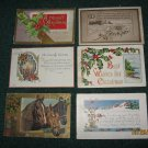 6 Christmas Postcards horses,holly,candles etc lot 84
