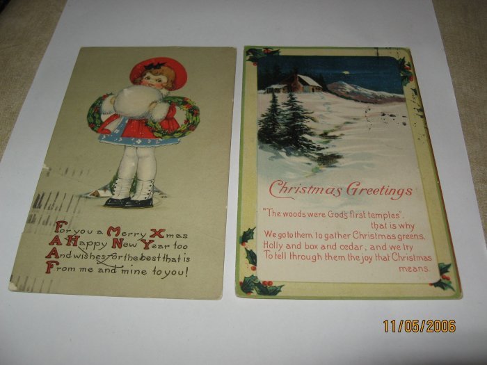 Girl Holding Snowball and Cabin in Snow Christmas Postcards lot  c97