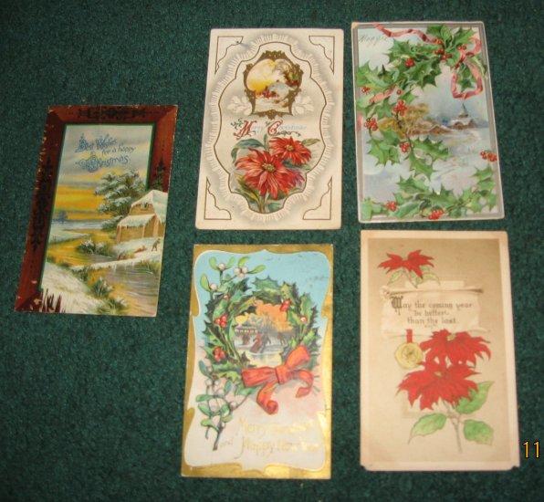 Lot of 5 Christmas Postcards c100