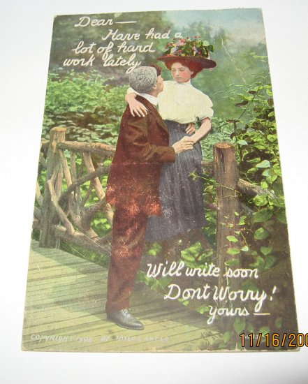 Romance Postcard Man And Lady along Bridge R-7