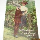 Romance Postcard Man And Lady along Bridge R-7