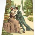 Man and Lady on Park Bench Vintage Romance Postcard R-9
