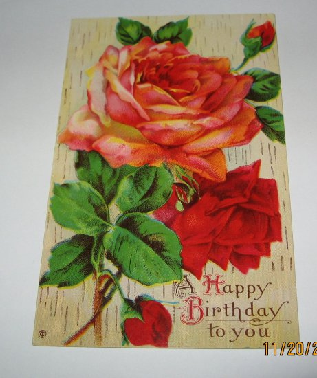 Rose Birthday Postcard B-1