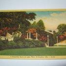 Lake Park,Milwaukee,Wi. bridge and flowers postcard W11