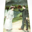 Man and Lady by lake vintage romance postcard R20
