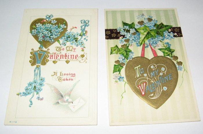 Gold Heart Valentine Vintage Postcards R32