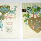 Gold Heart Valentine Vintage Postcards R32