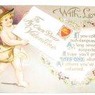 Cupid Valentine Embossed Vintage Postcard R33