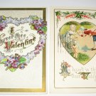 2 Valentine Postcards Violets and man and lady R36