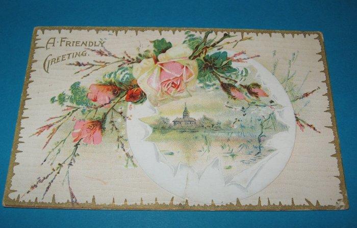Friendly Greeting Roses Vintage Postcard G2