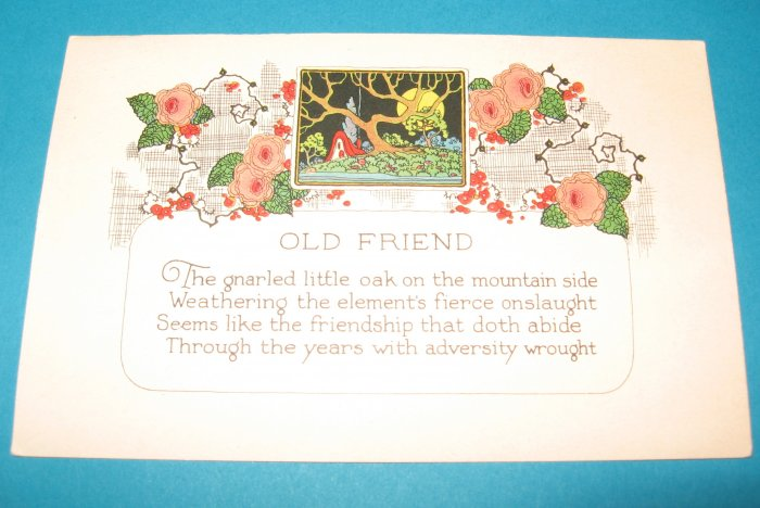 Old Friend Greeting Postcard G4