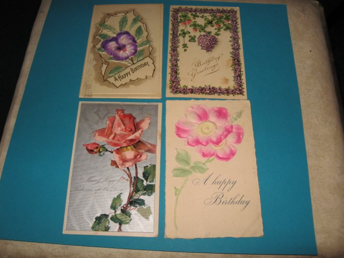 Birthday Postcards flowers lot of 4 B6
