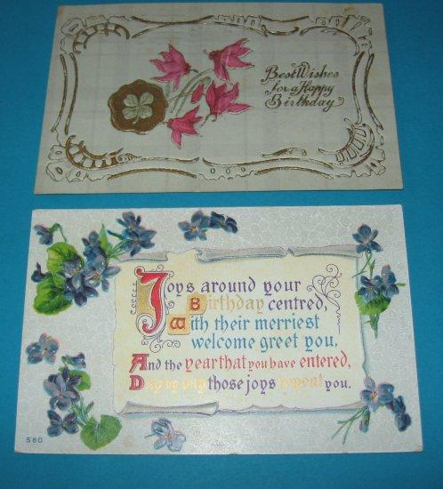 Birthday Postcards Pink and Purple Flowers B8