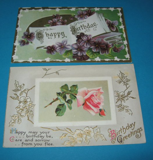 2 Happy Birthday Vintage Postcards B10