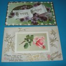 2 Happy Birthday Vintage Postcards B10