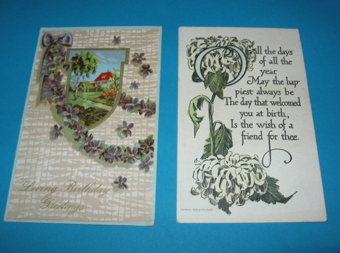 2 Birthday Vintage Postcards House Violets B15