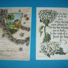 2 Birthday Vintage Postcards House Violets B15