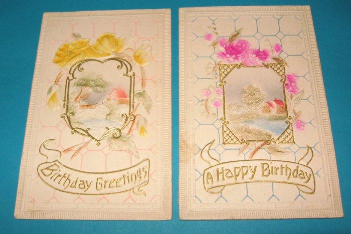 2 Birthday postcards with house scene B16