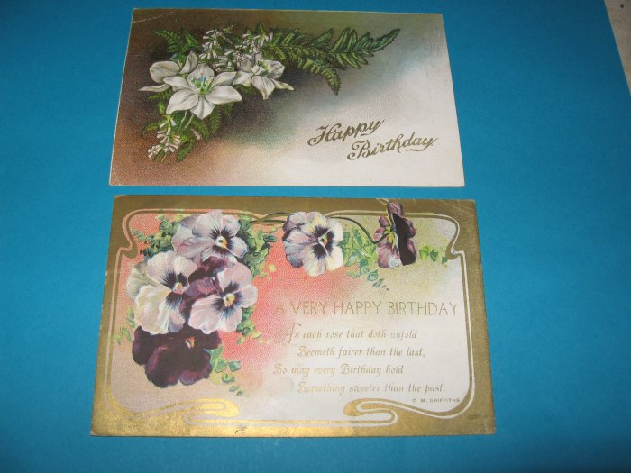 Birthday Postcards Pansies and Lilies B24