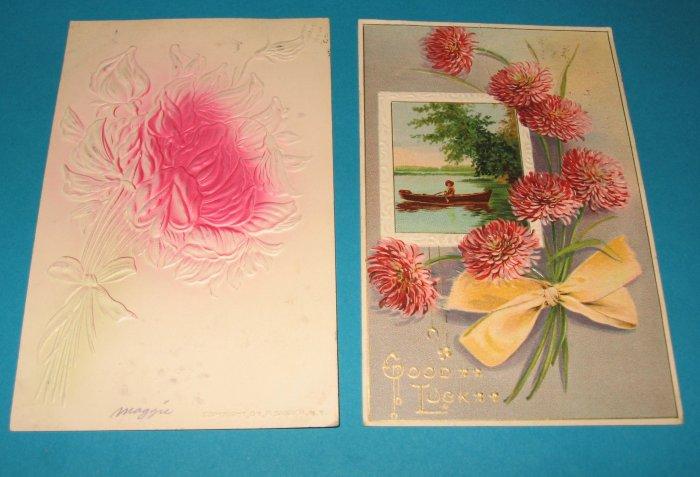 2 Birthday Postcards Pink Flowers B26