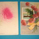 2 Birthday Postcards Pink Flowers B26