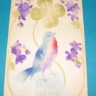 Embossed Birthday Postcard with bird B19