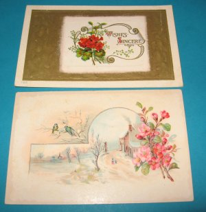 Flowers Wishes Vintage Postcards G22