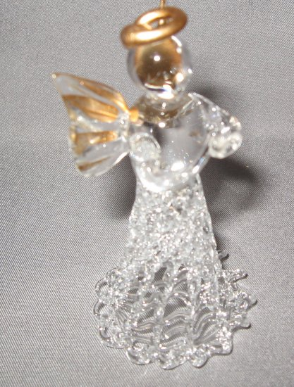 Glass angel with folded hands and gold trim