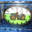 Green Tractor  Glass Quartz etched clock number 1
