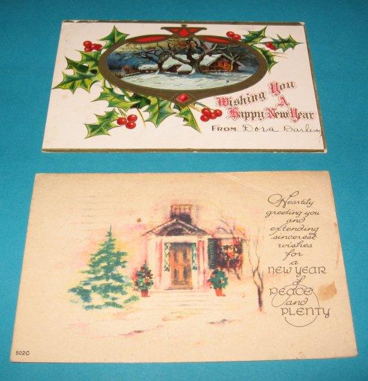 New Year Postcard Lot NY6