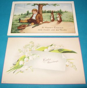 Boy with gun and lillies of the valley Easter postcards E32