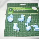 Baby  miniature Christmas ornaments 6 pieces blue