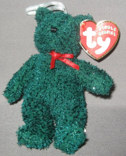 TY Beanie Christmas Bear Green with red bow